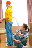 Happy young couple moving to new house Stock Photo