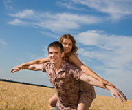 Loving couple on nature Stock Images