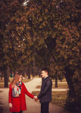 Happy young couple. On nature. Spring Royalty Free Stock Photography