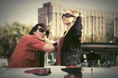Happy young couple in new car Royalty Free Stock Photography