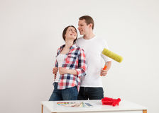 Happy young couple in a new flat Royalty Free Stock Images