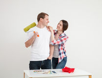 Happy young couple in a new flat Stock Photo