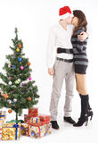 Happy young couple, in a New Year's situation Royalty Free Stock Photography