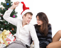 Happy young couple, in a New Year's situation Stock Photo