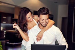 Happy young couple online shopping Royalty Free Stock Photo