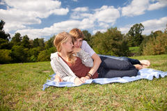 Happy young couple outdoors Stock Images