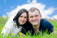 Happy young couple outdoors Royalty Free Stock Photos