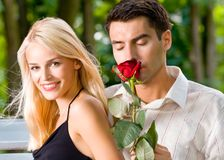 Happy young couple, outdoors Royalty Free Stock Photo