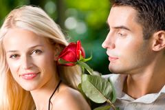 Happy young couple, outdoors Stock Image