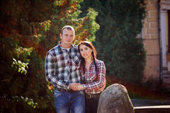 Happy young couple outdoors on beautiful autumn day. Love, rela Royalty Free Stock Photos