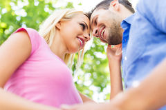 Happy young couple outdoors Royalty Free Stock Images