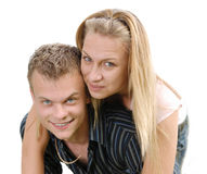 Happy young couple over white background Stock Image