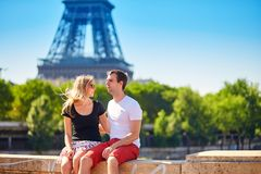 Happy young couple in Paris Stock Photos