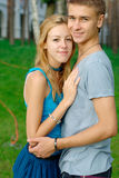 Happy young couple at the park Stock Images