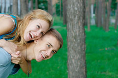 Happy young couple at the park Royalty Free Stock Photo