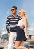 Happy young couple in port Royalty Free Stock Photography