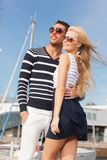 Happy young couple in port Stock Photography