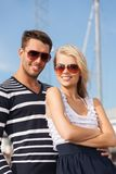 Happy young couple in port Royalty Free Stock Images