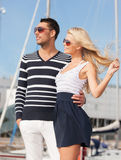 Happy young couple in port Royalty Free Stock Photo
