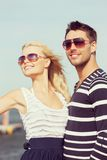 Happy young couple in port Stock Image