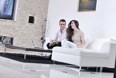 Happy young couple relax at home Royalty Free Stock Photo