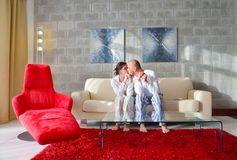 Happy young couple relax at home Royalty Free Stock Image