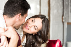 Happy young couple relaxed at home Royalty Free Stock Photos