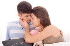 Happy young couple relaxing royalty free stock photography
