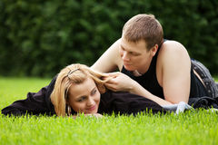 Happy young couple relaxing outdoor Stock Photo