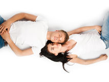 Happy young couple relaxing together Stock Photo