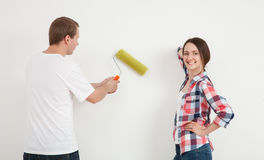 Happy young couple  repairing a new flat Stock Photo