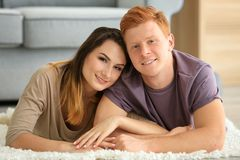 Happy young couple resting. At home Stock Photo