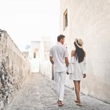 Happy young couple on Santorini stock images