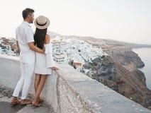 Happy young couple on Santorini stock image