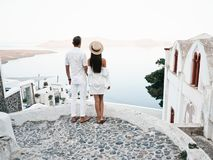 Happy young couple on Santorini stock photography