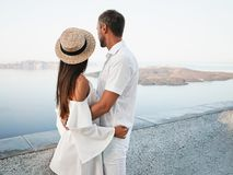 Happy young couple on Santorini royalty free stock photography