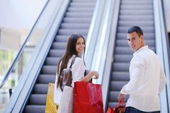 Happy young couple in shopping Stock Image
