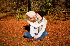 Happy young couple smilin in autumn outdoor Royalty Free Stock Image