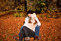 Happy young couple smilin in autumn outdoor Stock Images