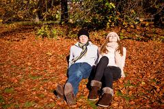 Happy young couple smilin in autumn outdoor Stock Image