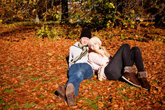 Happy young couple smilin in autumn outdoor Stock Photo