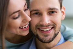 Happy young couple smiling Royalty Free Stock Image