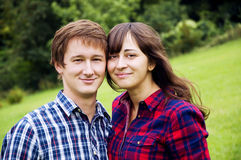 Happy young couple smiling together Stock Photography