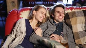 Happy young couple spending time in the pub stock footage
