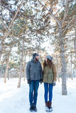 Happy young couple standing in winter park Royalty Free Stock Image