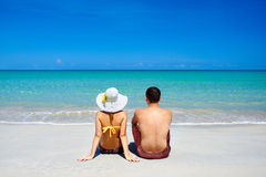 Happy young couple on summer holidays vacation on tropical beach Stock Photography