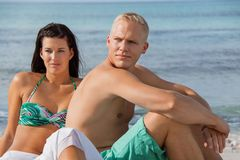 Happy young couple sunbathing Stock Photography