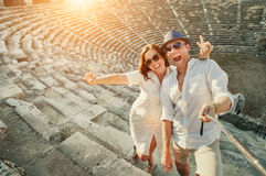 Happy young couple take self photo in Side amphitheatre Stock Photos