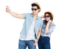Happy young couple taking a selfie Royalty Free Stock Photos