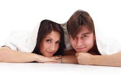 Happy young couple with towel Royalty Free Stock Images